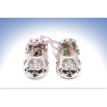 Silver Plate Crystal Baby Shoes Pink